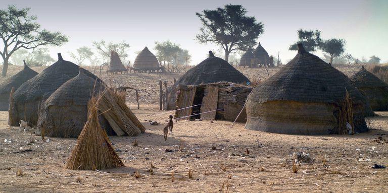 Africa, North Africa, Niger, View Of Mud Hut Village (Year 2007)