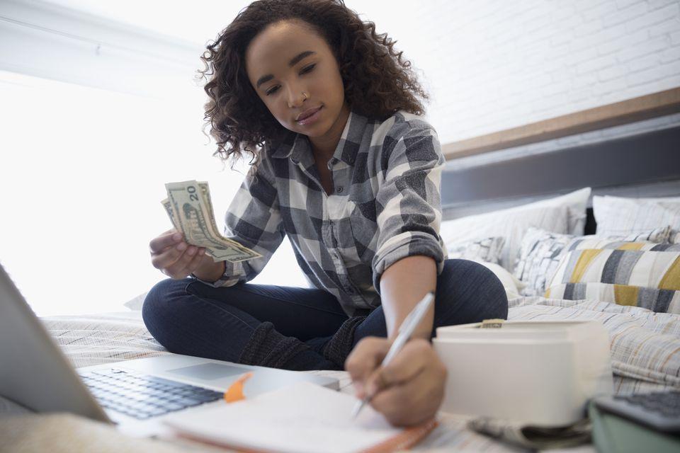 Teen girl with money