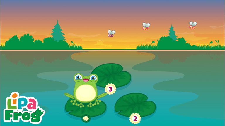Screenshot of Lipa Frog app showing one frog, three lily pads, and three bugs.