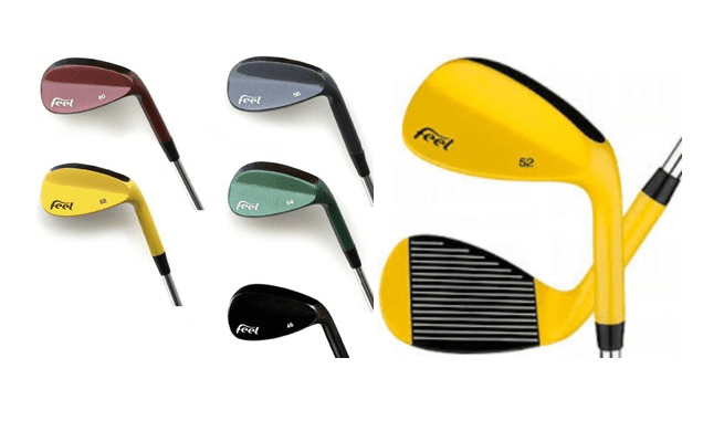 Various colors of feel golf wedges