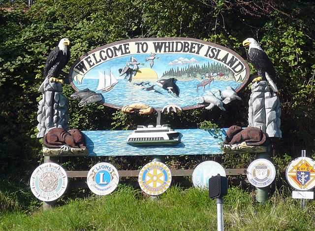 Welcome to Whidbey Island Sign near Clinton Ferry Dock