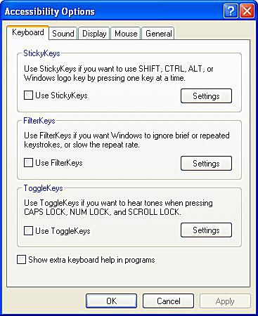 Accessibility Options in Windows XP