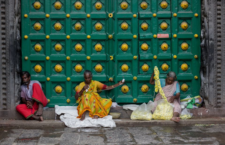 Flower sellers outside temple in Chennai.