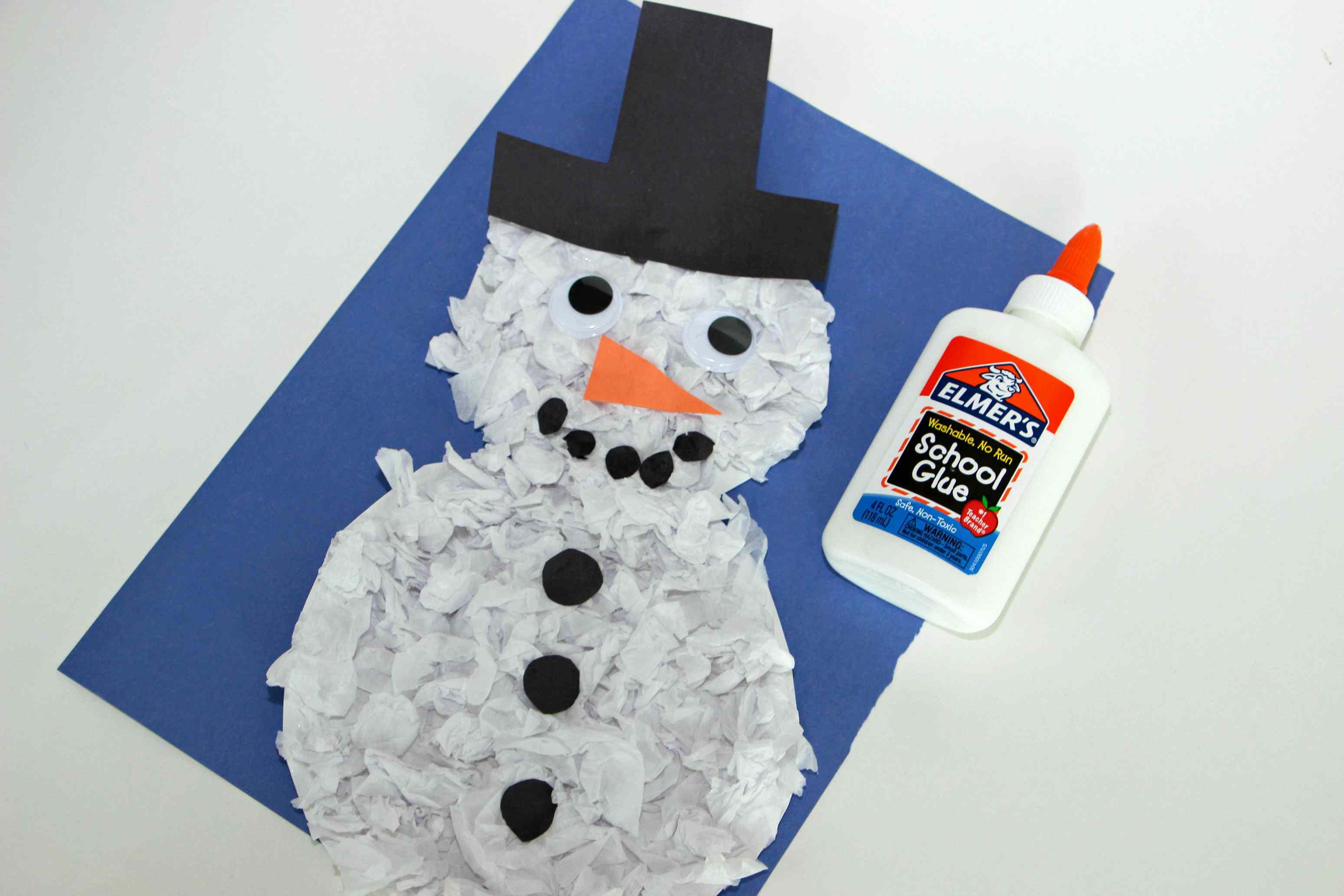Diy tissue paper snowman craft for kids jeuxipadfo Gallery