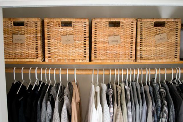 Labeled baskets in the closet