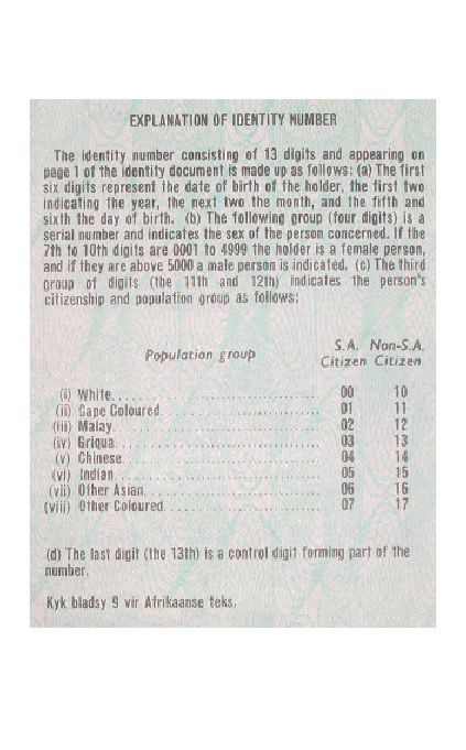South African Apartheid Identity Number Explanation