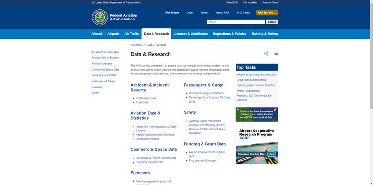 The FAA website is a great place to find aviation research.