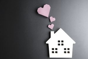 House with hearts indicating love in the home