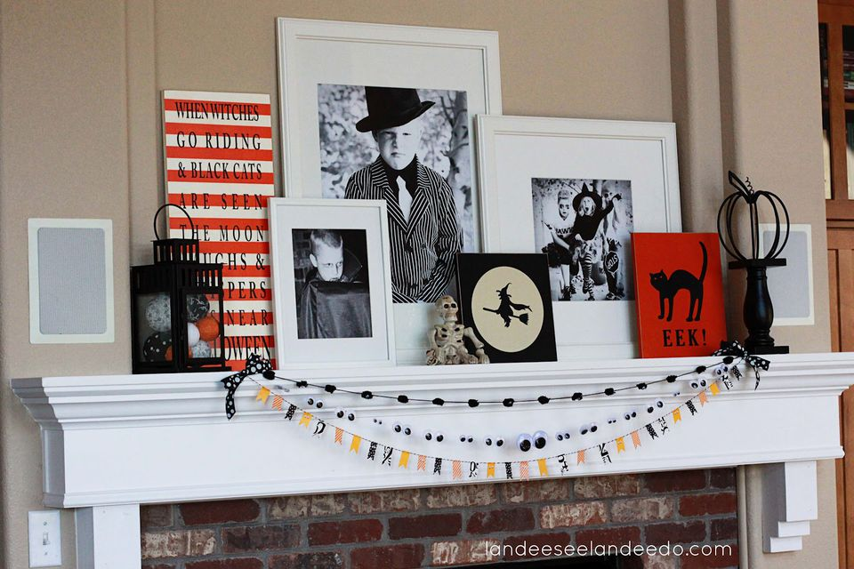 halloween mantel with family photos