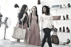 multiethnic women shopping