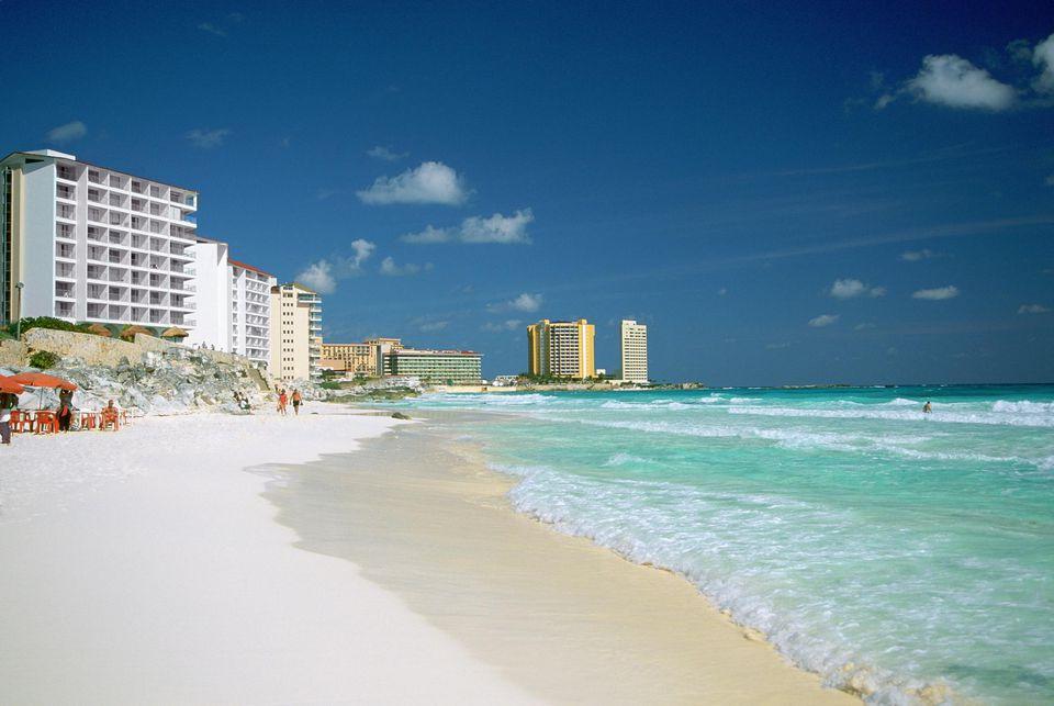 Mexico, Cancun Beach, Crashing waves on the beach