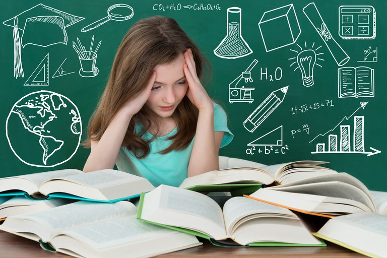 Frustrated Girl Looking At Many Books On Desk