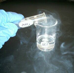 The chemical reaction between hydrochloric acid and ammonia produces a white smoke.