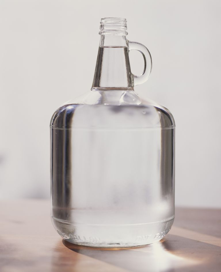 distilled water in glass container