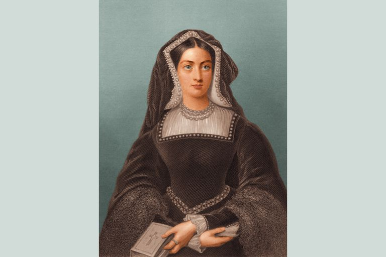 Catherine of Aragon holding a Bible