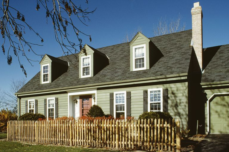 green cape cod style with 3 dormers 5 bay facade with entryway recessed beneath - Cape Cod Style House Colors