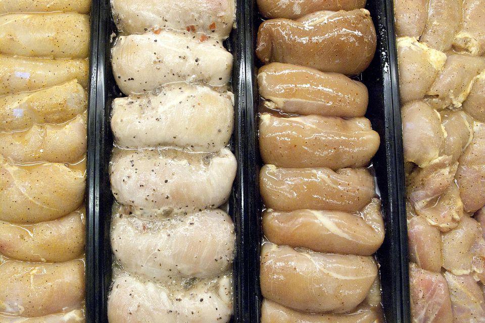 Marinated raw chicken