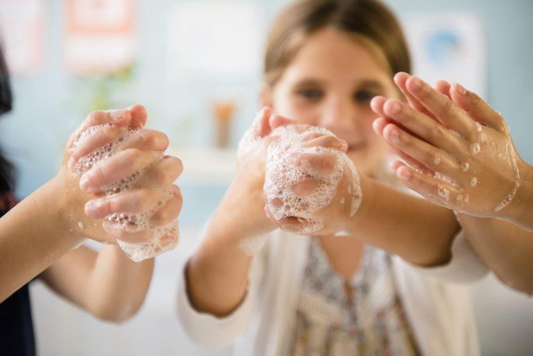 Kids washing hands in classroom