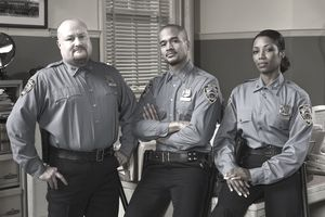 Three police officers in a portrait shot
