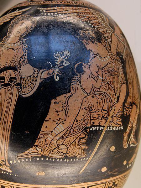 Hera Suckling Hercules. Mid-4th century Apulian Painted Vase.