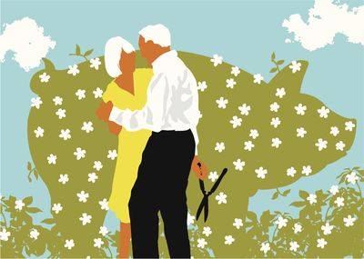 senior couple dancing near blooming hedge shaped like pig 106682729 5a7cbbdec673350037b35fd9