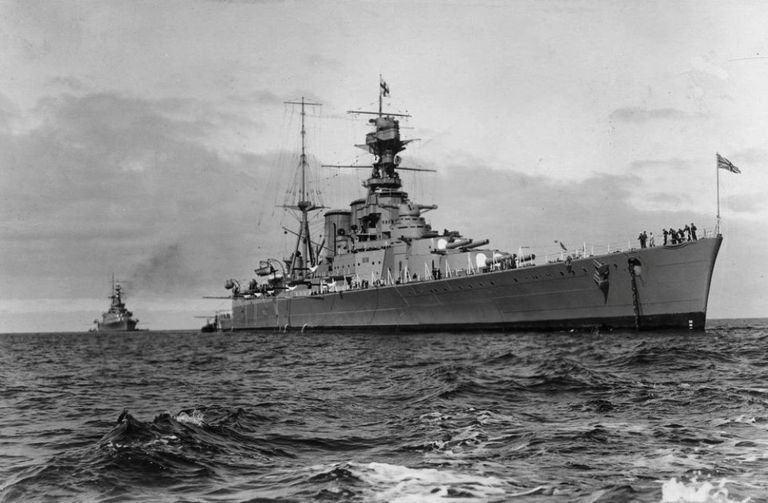 HMS Hood at sea