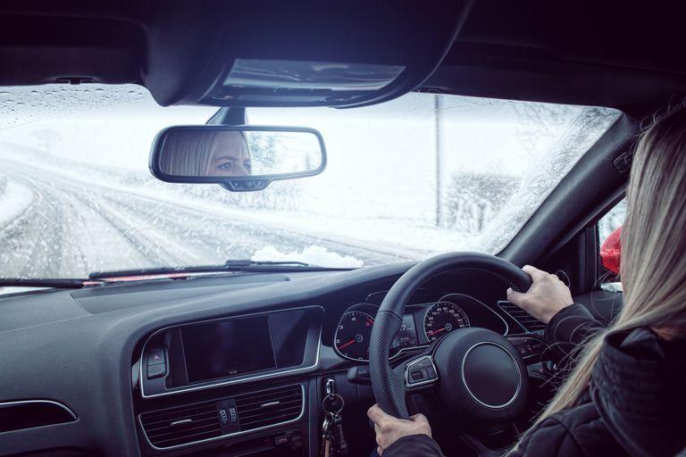 Rural drive snowing