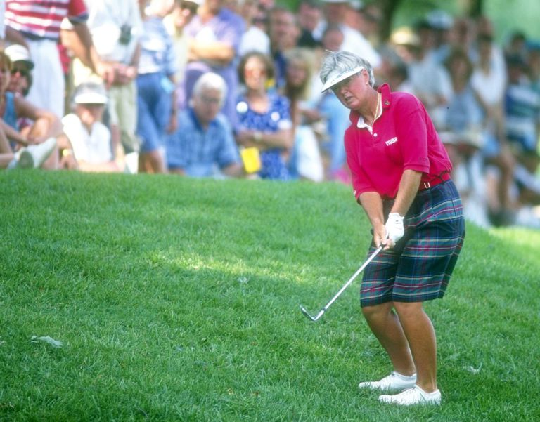 Pat Bradley plays a chip shot during an LPGA Tour event in 1993.