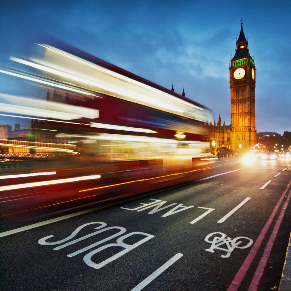 Light trails from a London bus