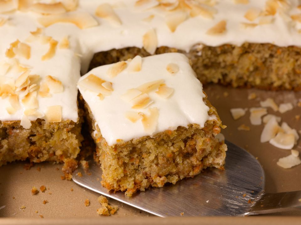 carrot cake with coconut cream frossting