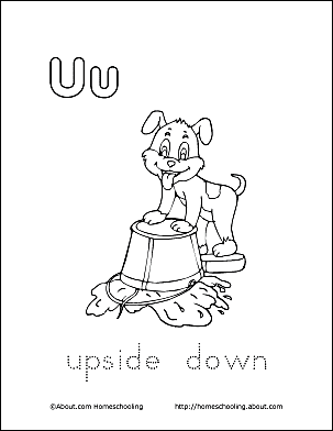 Upside Down Coloring Page Letter U 4