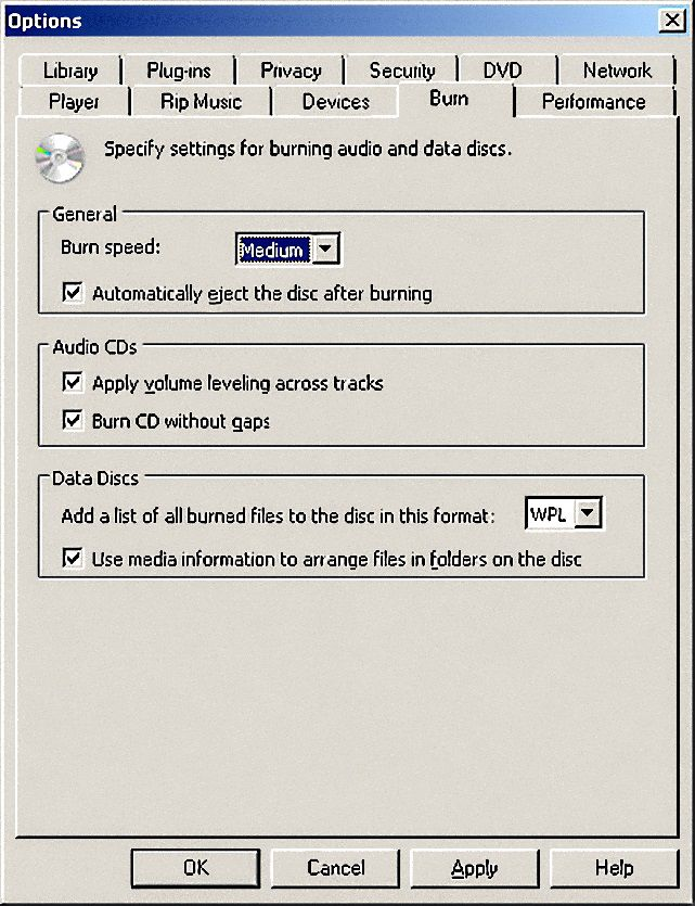 Burn Speed Options in WMP 12