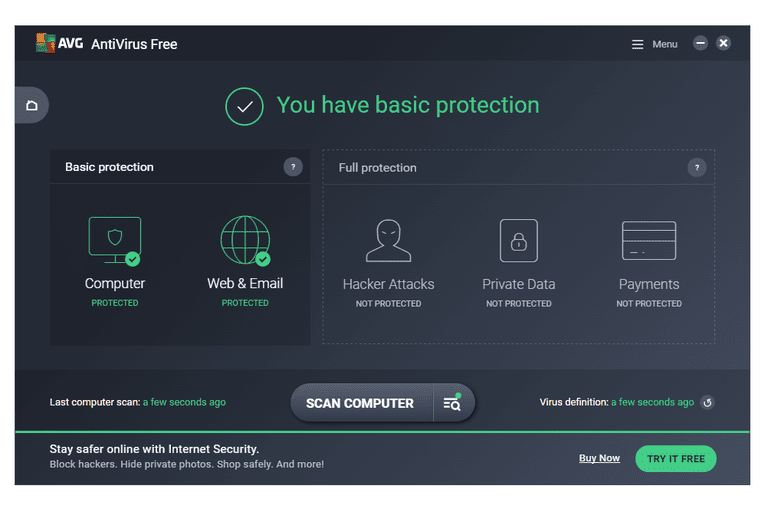 Screenshot of AVG AntiVirus Free in Windows 7