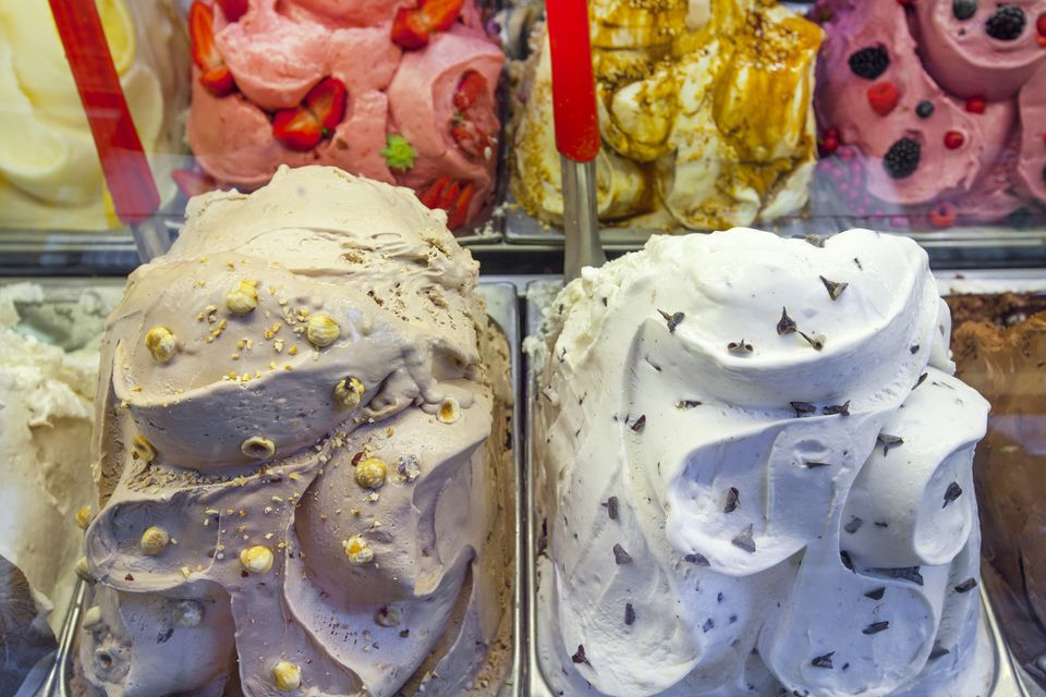 Detail of colourful Italian gelato ice cream