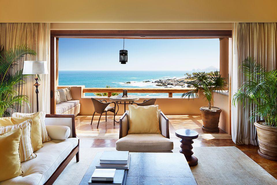Luxury living room with ocean view