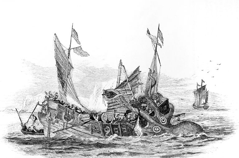 This 1860s illustration depicts a colossal squid attacking a Chinese junk in the Indian Ocean.