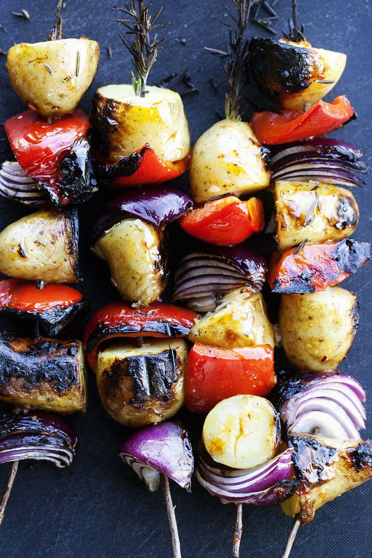 Grilled vegetable skewers.