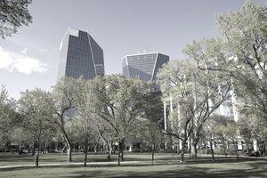 Downtown Regina, Victoria Park and office buildings, in Saskatchewan.
