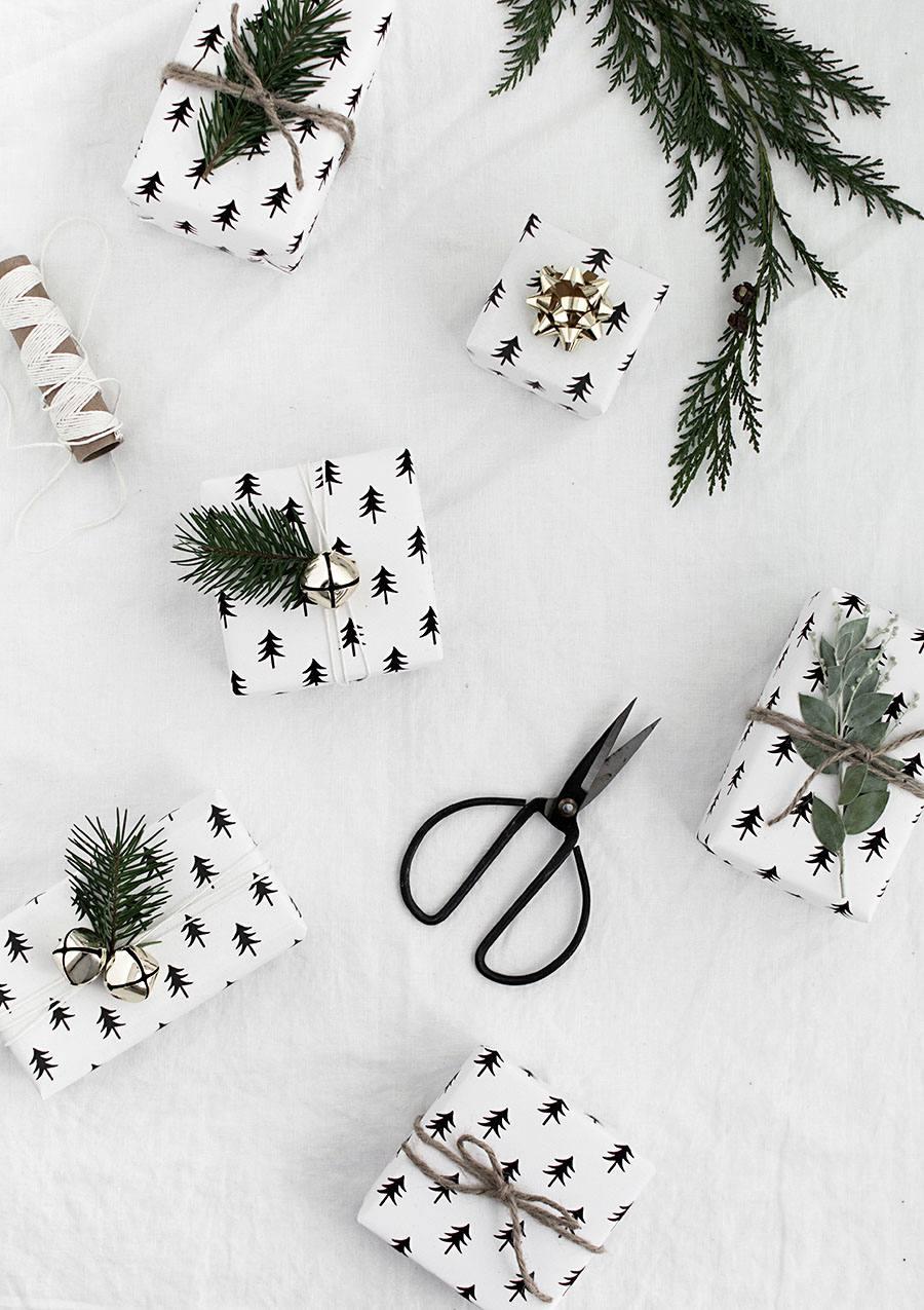 DIY Printable Black And White Christmas Wrapping Paper