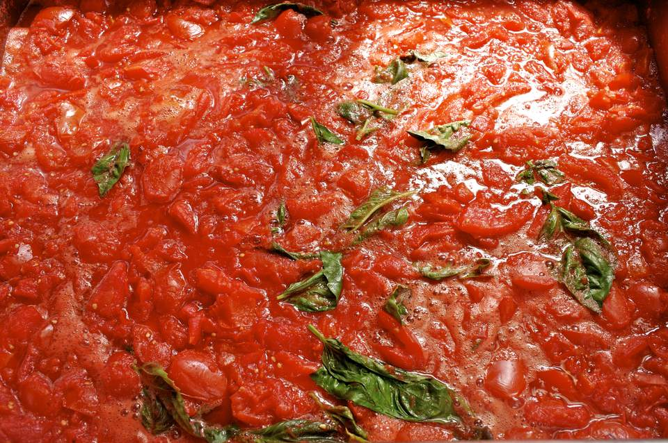 Home made tomatoe sauce with basil leaves.