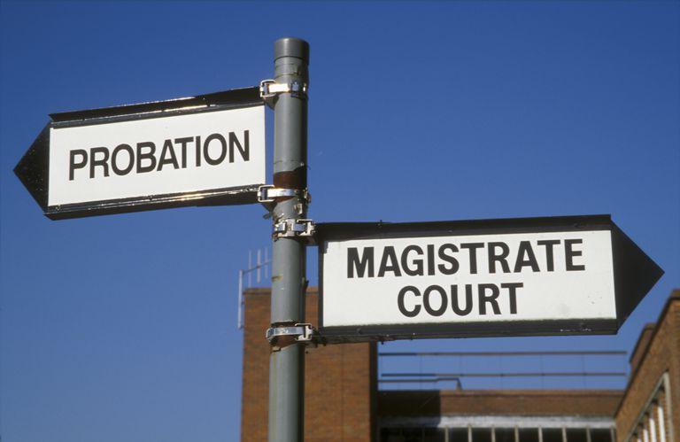 Probation & Magistrate Court direction sign Uxbridge West London UK