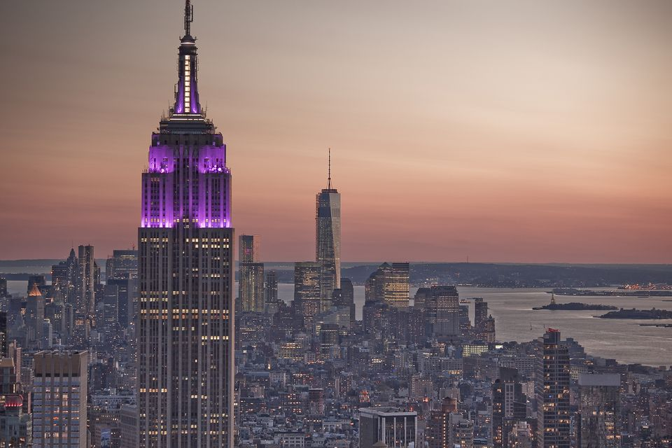 Empire State Building at sunrise, New York City, New York, United States