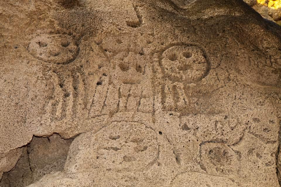 Prehistoric rock engravings of Taino Culture, Caritas de los Indios, Isla Cabritos National Park, Lago Enriquillo, Dominican Republic