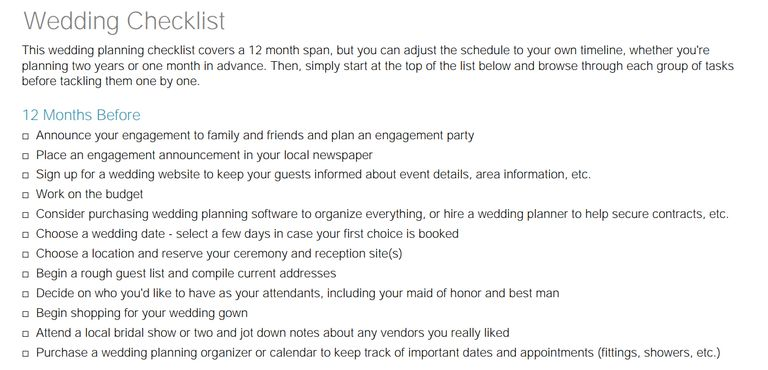 11 free printable checklists for your wedding timeline little wedding guides free wedding checklist junglespirit Images