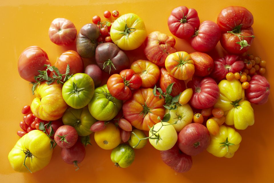 Overhead of a variety of tomatoes
