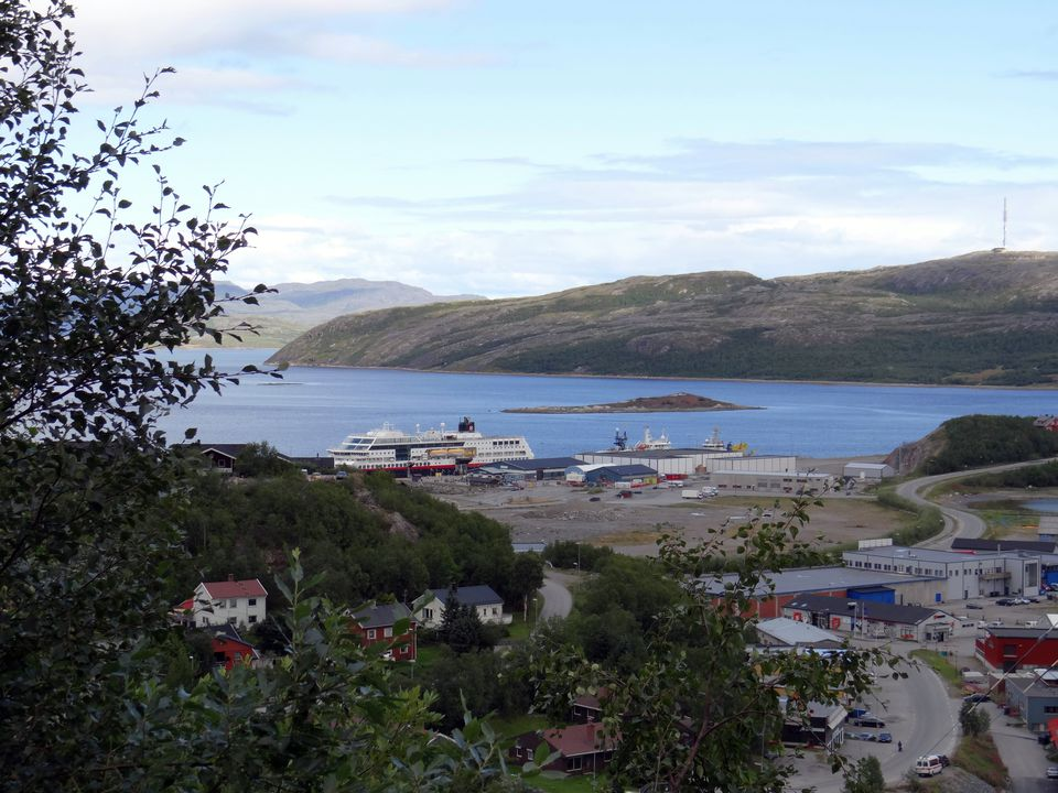 Hurtigruten costal liner at the dock in Kirkenes, Norway
