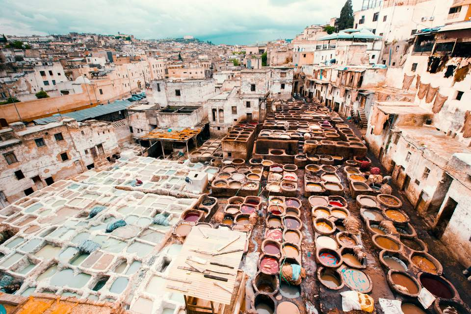 Fez Cityscape Fes Leather Tannery Morocco Africa