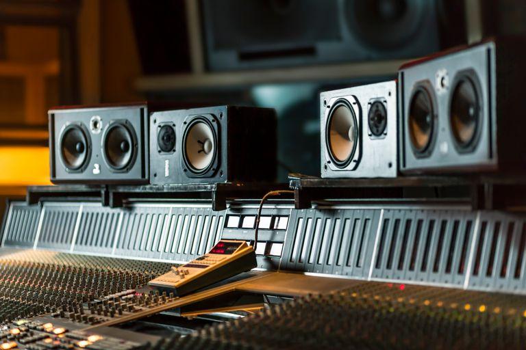 Audio equipment in a recording studio.