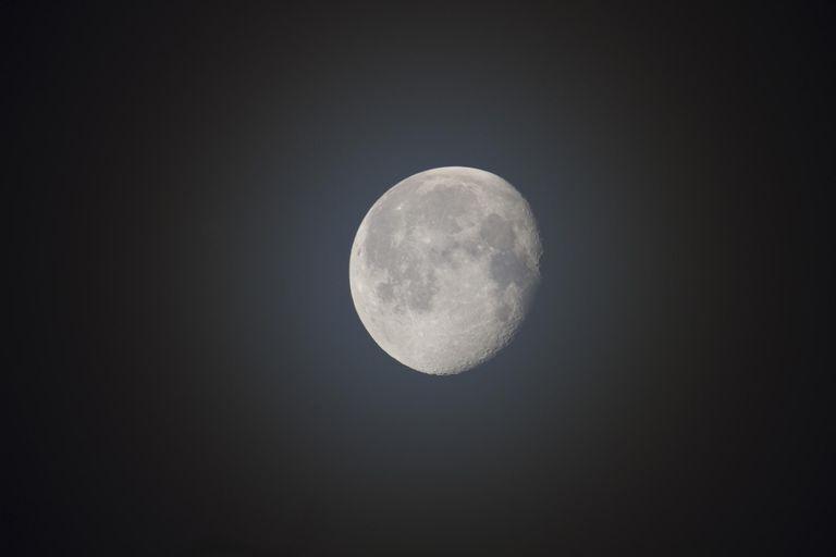 Near Full Moon on Misty Evening