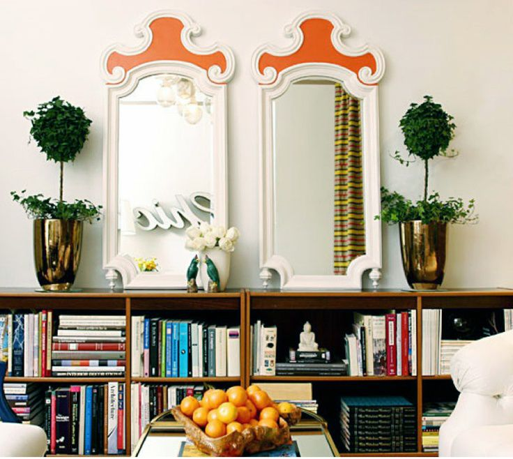 Twin mirrors with colorful frames